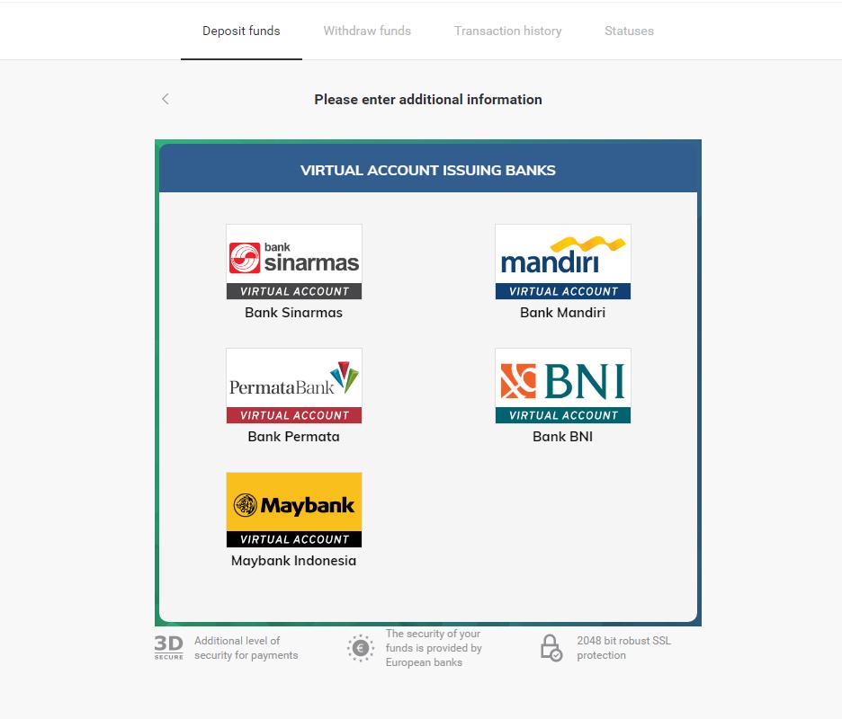 Deposit Funds in Binomo via INDONESIA Electronic Wallet